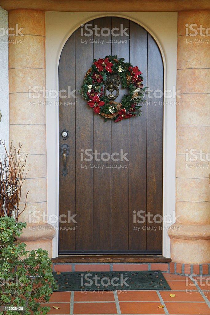 Dark wood Christmas door royalty-free stock photo