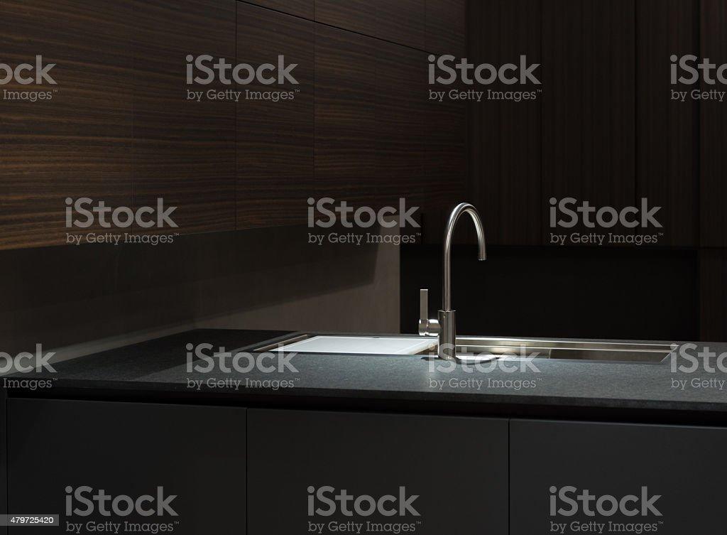Dark Wood Kitchen Sink stock photo