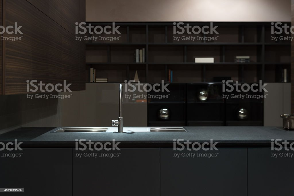 Clean and Minimalist Kitchen Cabinets and Worktop with Stainless...
