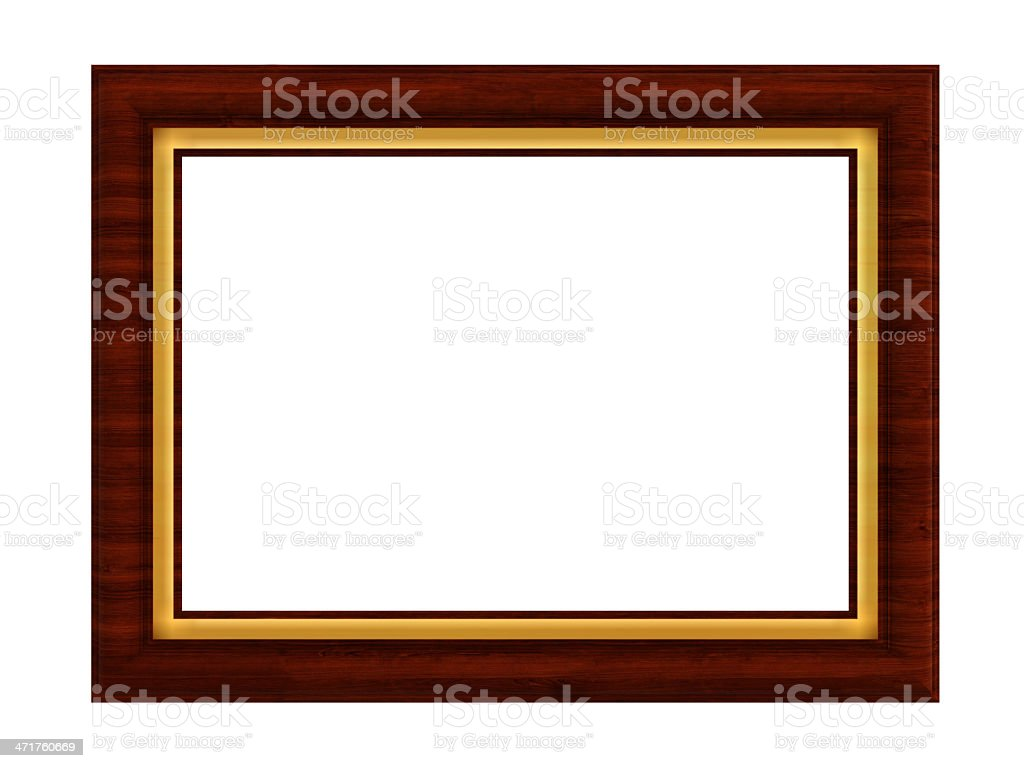 Dark Wooden Painting Frame with gold fringe royalty-free stock photo