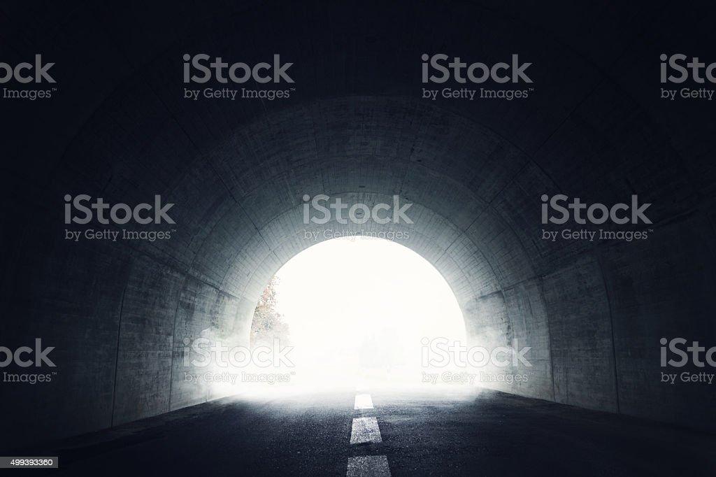 Darken tunnel with fog stock photo