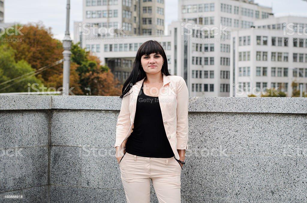 Dark-haired girl stock photo