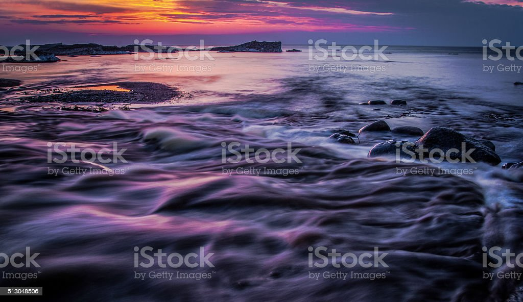 Darkness Falls On The Shores Of Lake Superior stock photo