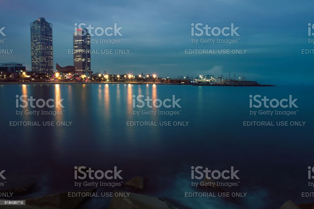 Darkness landscape with skyscrapers on background stock photo