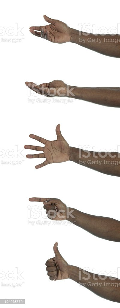 Dark-skinned hand with different gestures stock photo