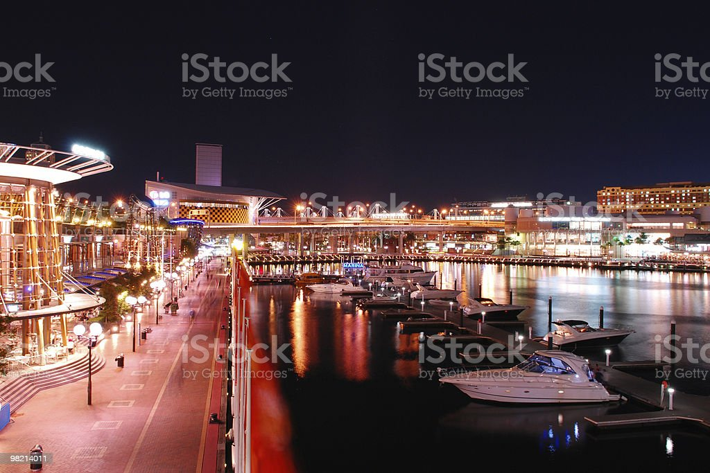 Darling Harbour at night stock photo