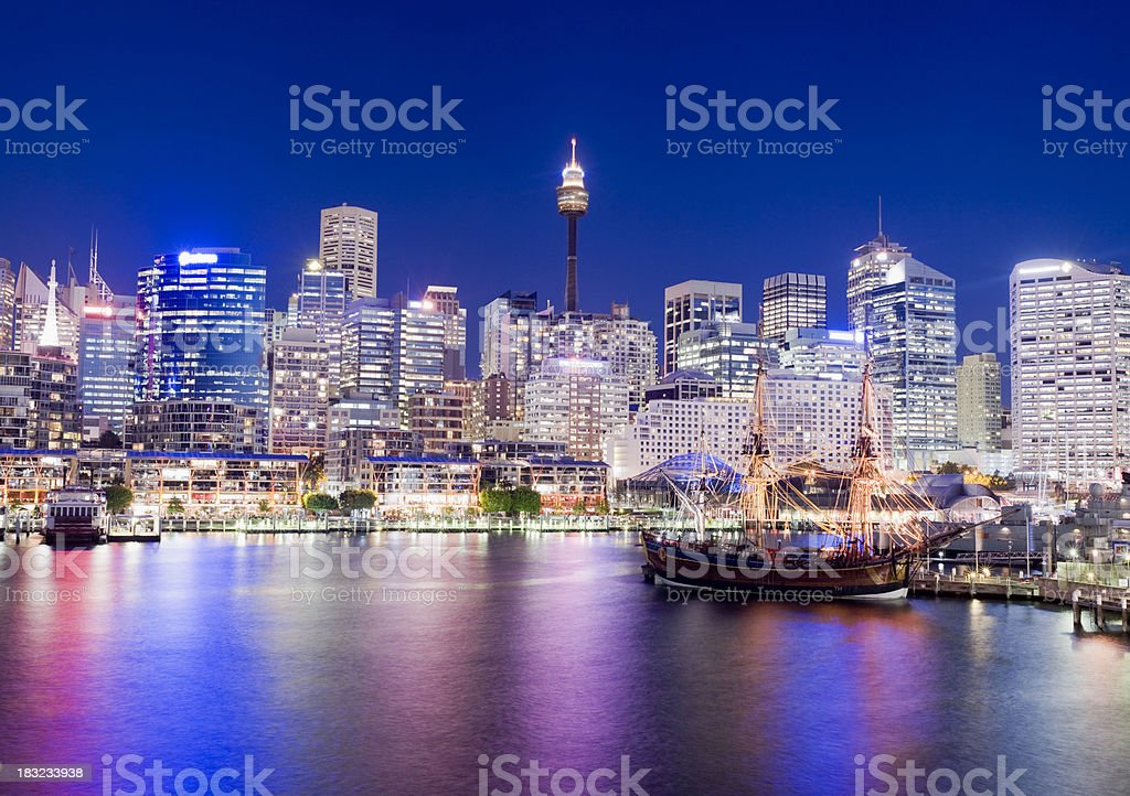 Darling Harbour City Skyline in Sydney Australia royalty-free stock photo