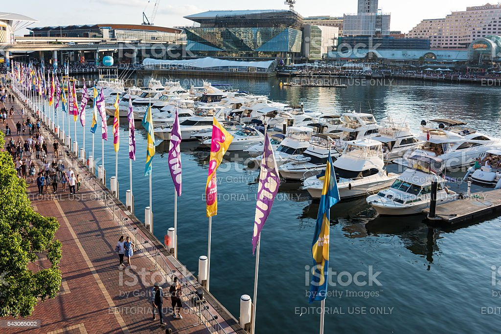 Darling Harbour, Cockle bay wharf and Pyrmont on Sydney Harbour stock photo