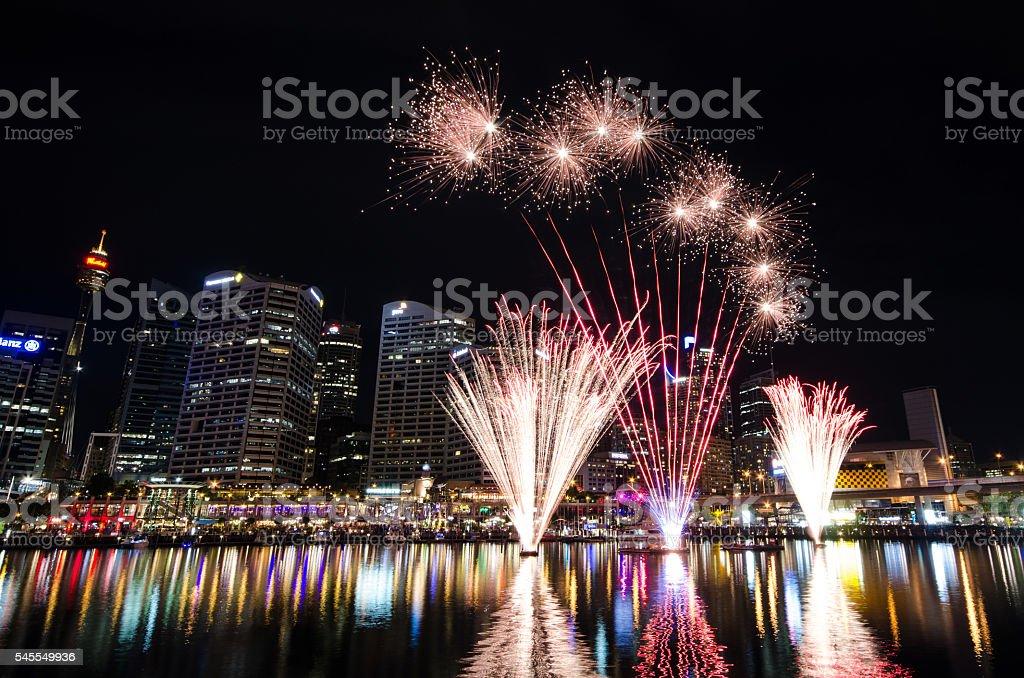 Darling Harbour Sydney Fireworks stock photo