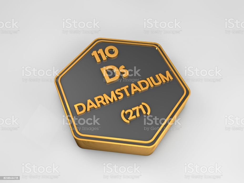 Darmtadium- Ds - chemical element periodic table hexagonal shape 3d render stock photo