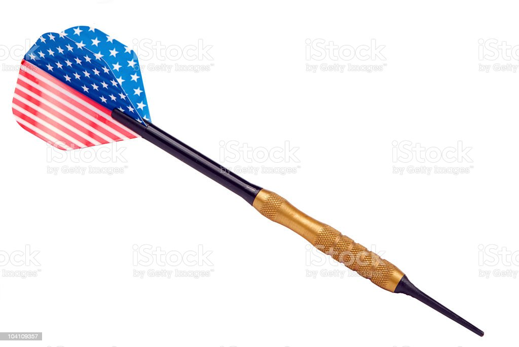 dart arrow with american flag isolated on white background stock photo