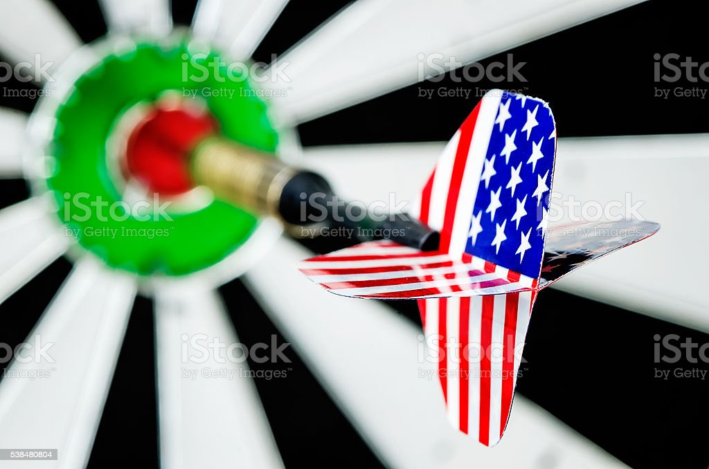 Dart arrow with usa flag stock photo