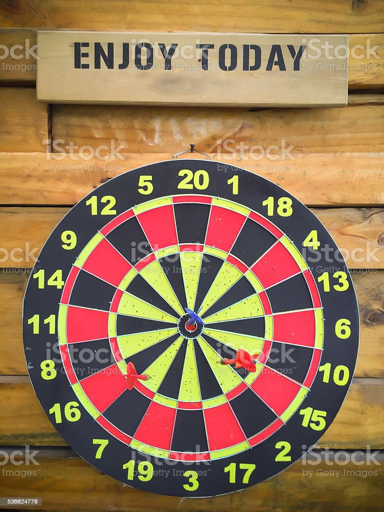 dart board and wood background stock photo