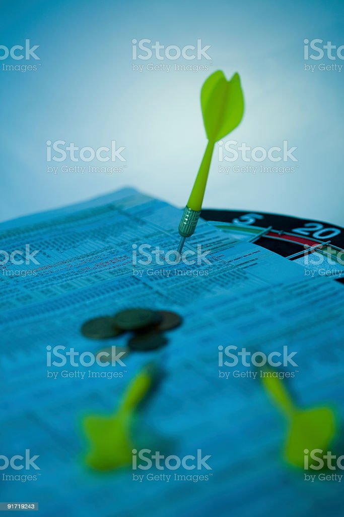 Dart board stock-market choices royalty-free stock photo