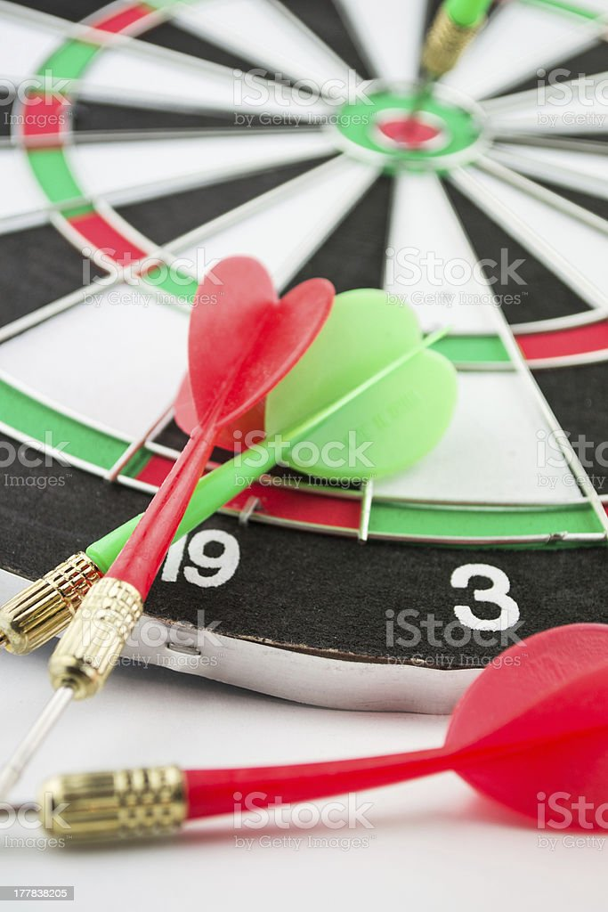 dart board with darts royalty-free stock photo