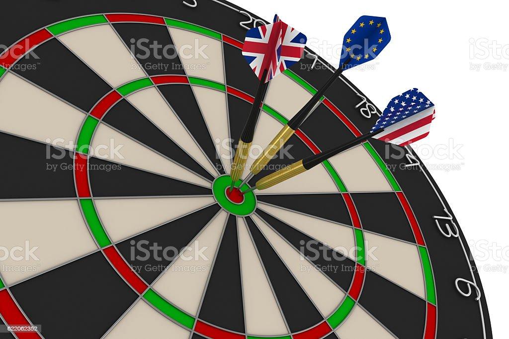 Dart Board with UK, EU, US Flag Darts in Bullseye stock photo
