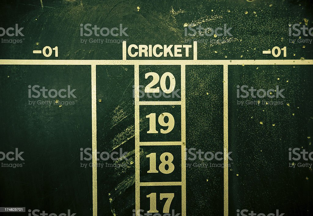Dart Chalkboard Cricket Scoreboard royalty-free stock photo