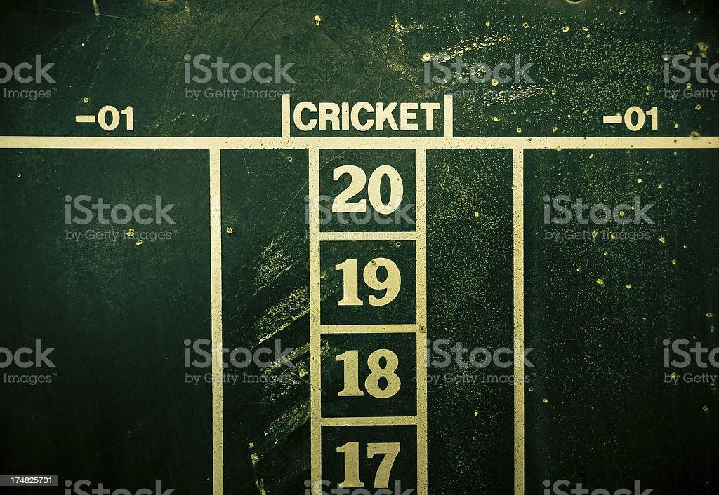 Dart Chalkboard Cricket Scoreboard stock photo