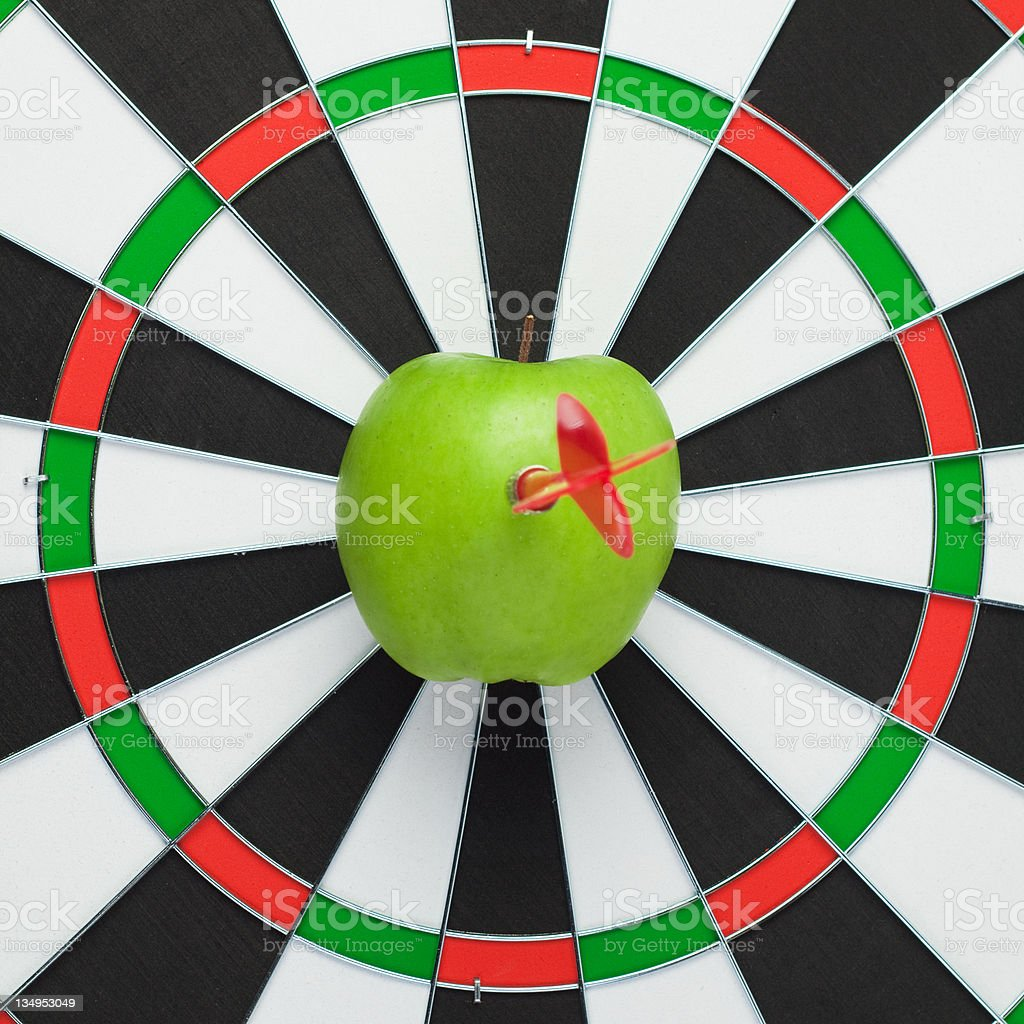 dart hit right in the centre of target royalty-free stock photo