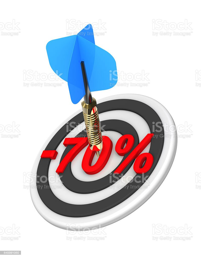 Dart hitting 70 percent off discount target. stock photo