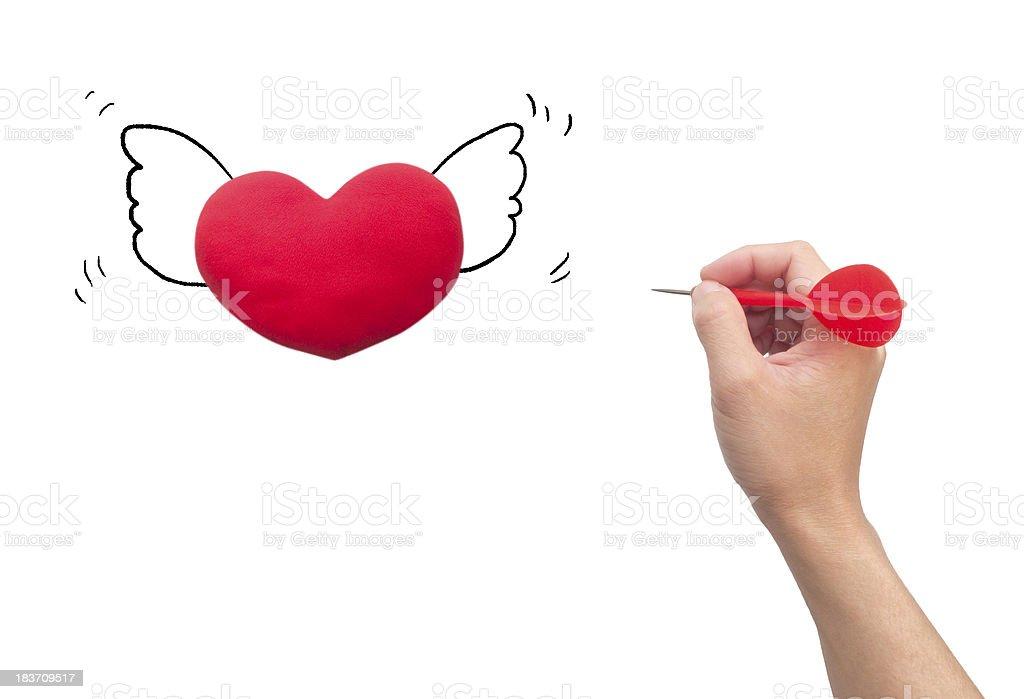 Dart Hitting heart royalty-free stock photo