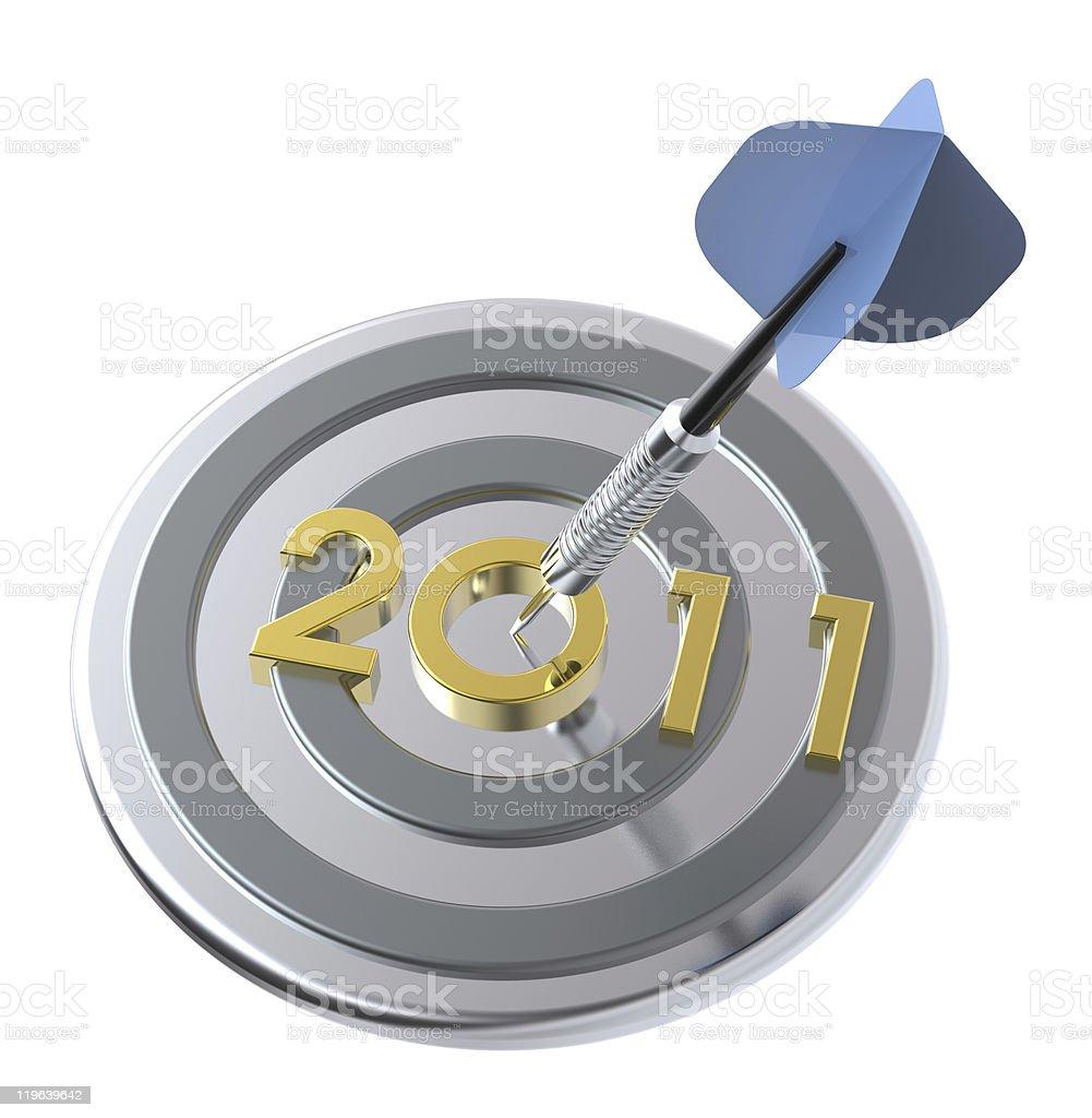 Dart hitting target - New Year 2011 royalty-free stock photo