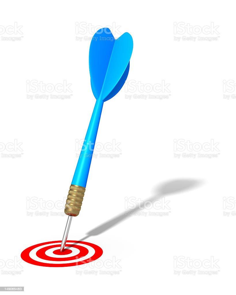Dart Hitting Target (isolated) royalty-free stock photo