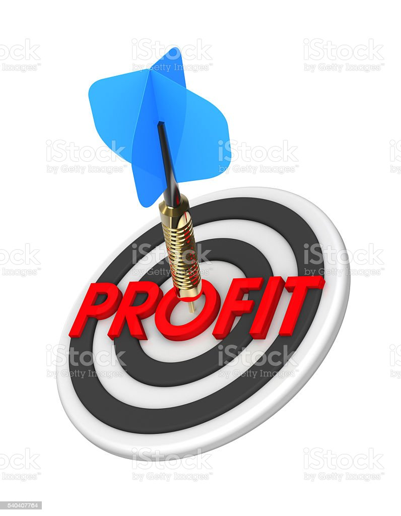 Dart hitting target. The concept of financial success. stock photo