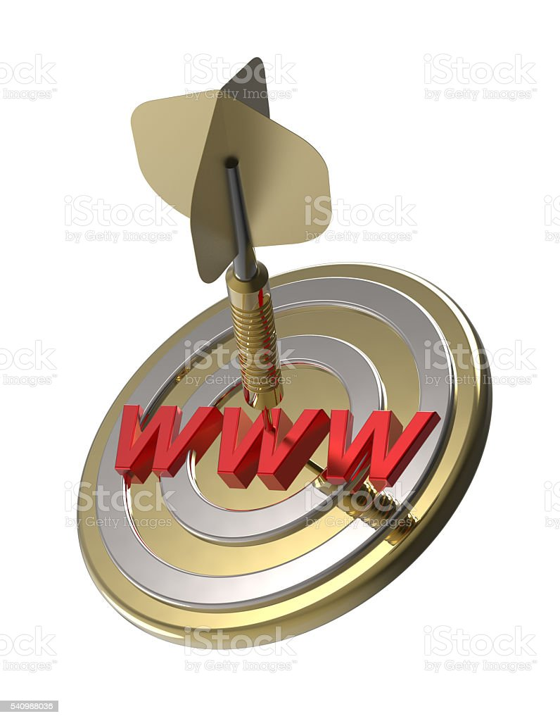 Dart hitting target. WWW search concept. stock photo