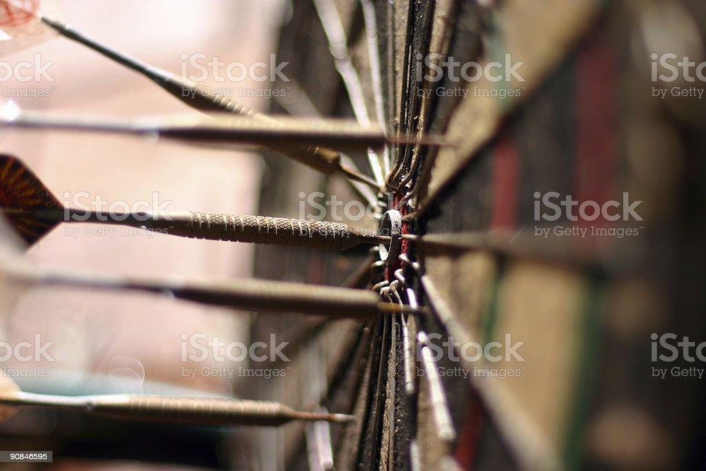 dart in bulls eye stock photo