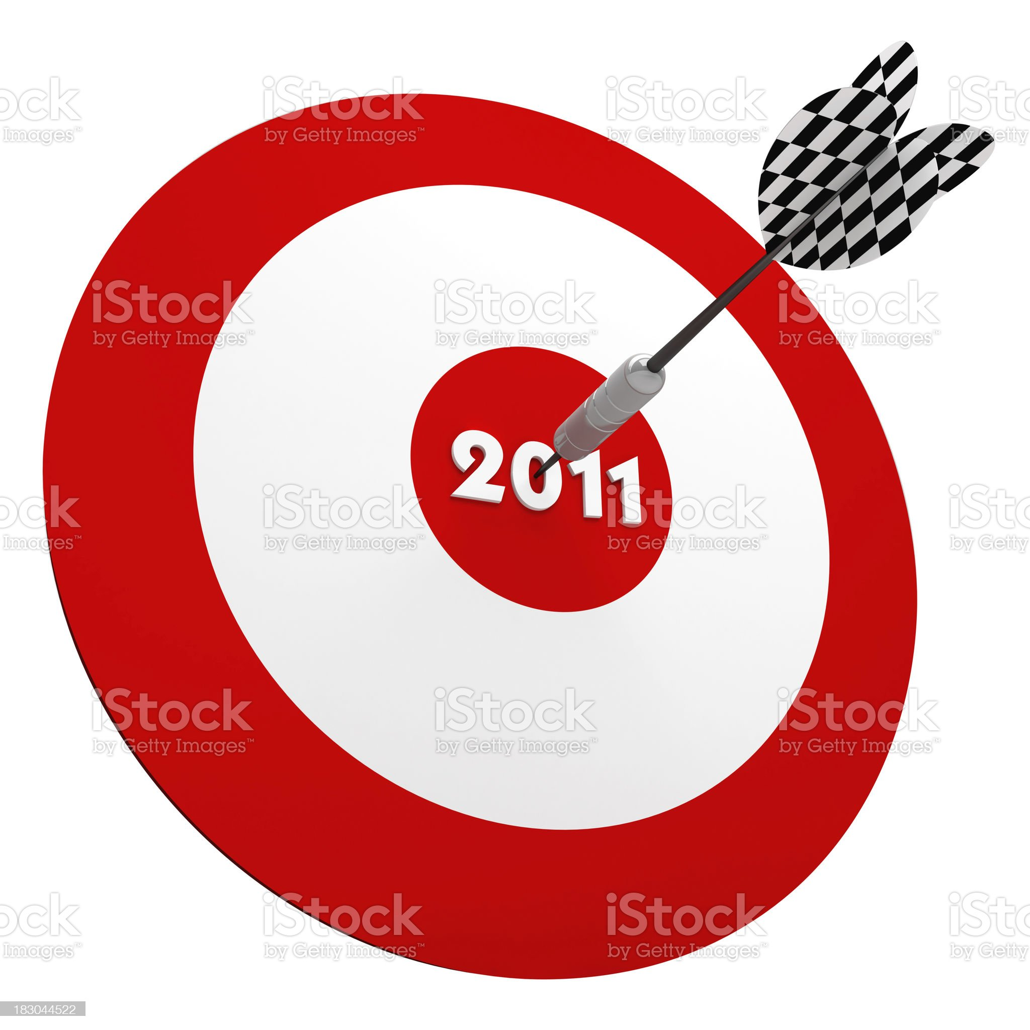 3D Dart in Center of 2011 years Target royalty-free stock photo