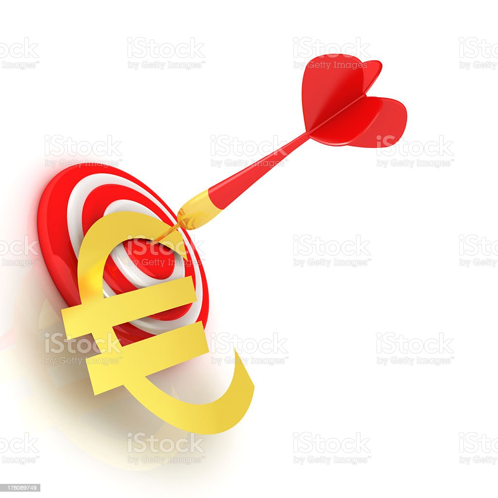 Dart of success with gold euro symbol royalty-free stock photo