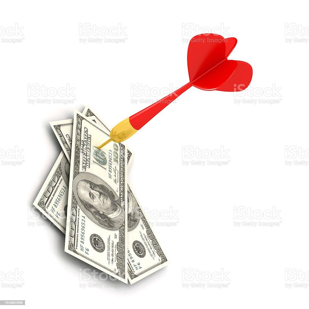 Dart of success with money stock photo