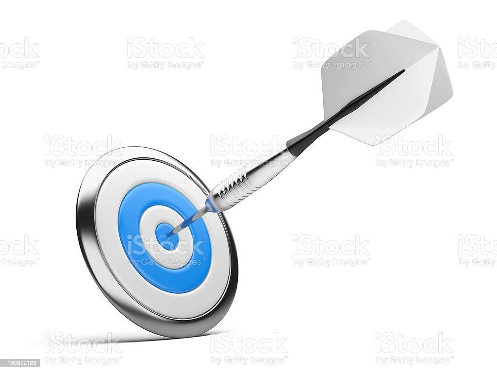 dart on blue target royalty-free stock photo