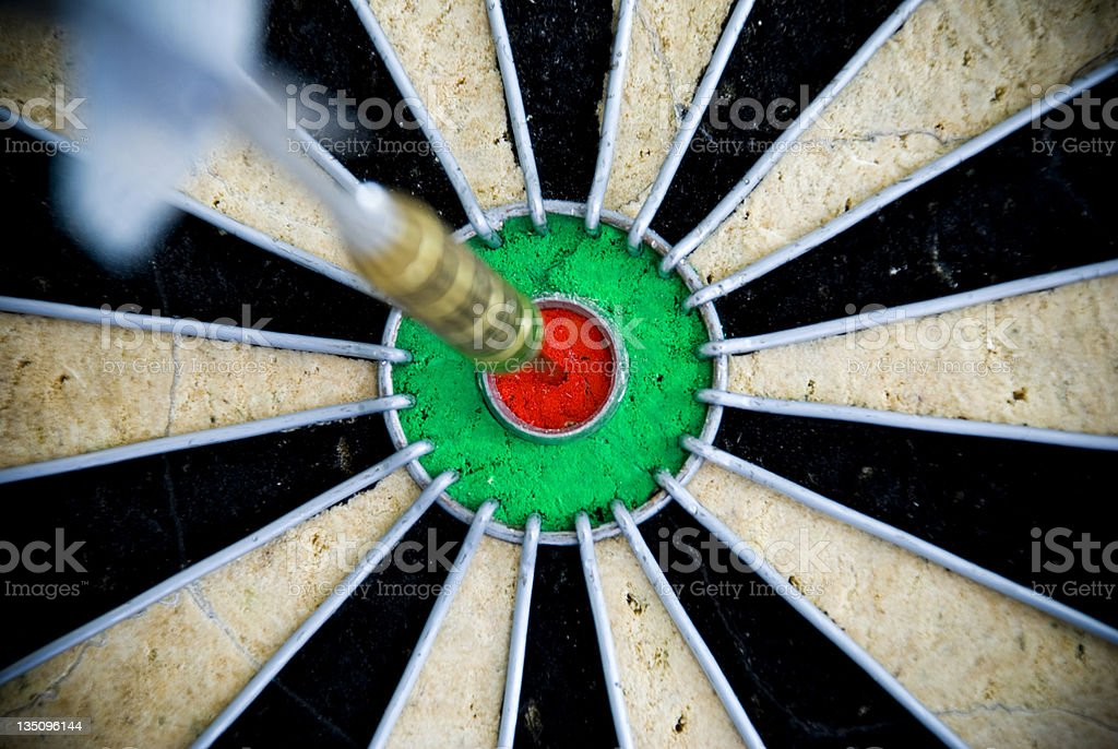 Dart on Dartboard Bullseye royalty-free stock photo
