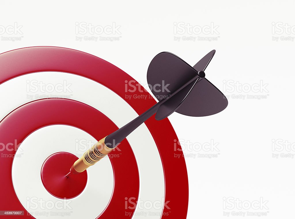 Dart on red target stock photo