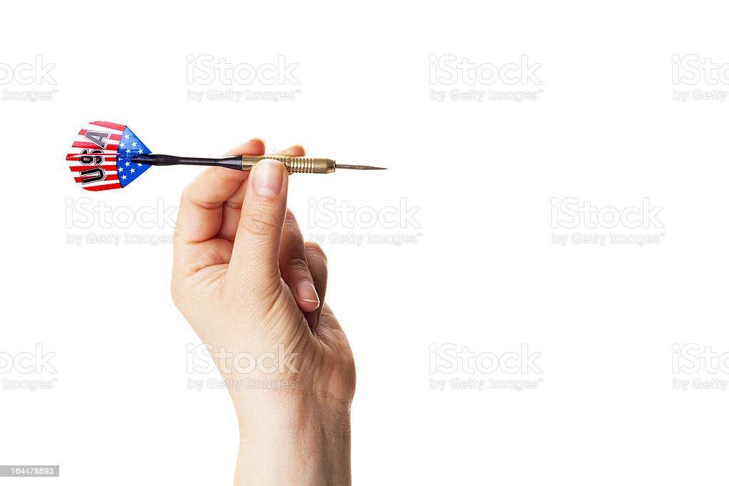 USA dart ready to throw into a target stock photo
