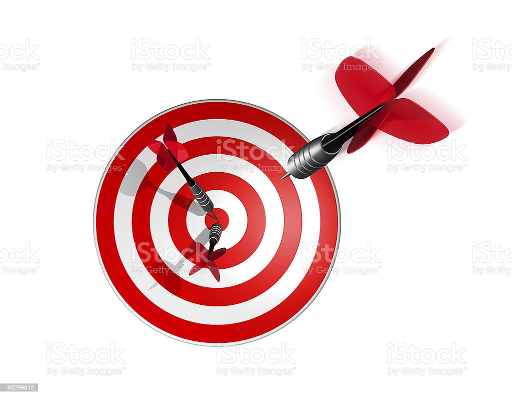 3D dart right on the target center royalty-free stock photo