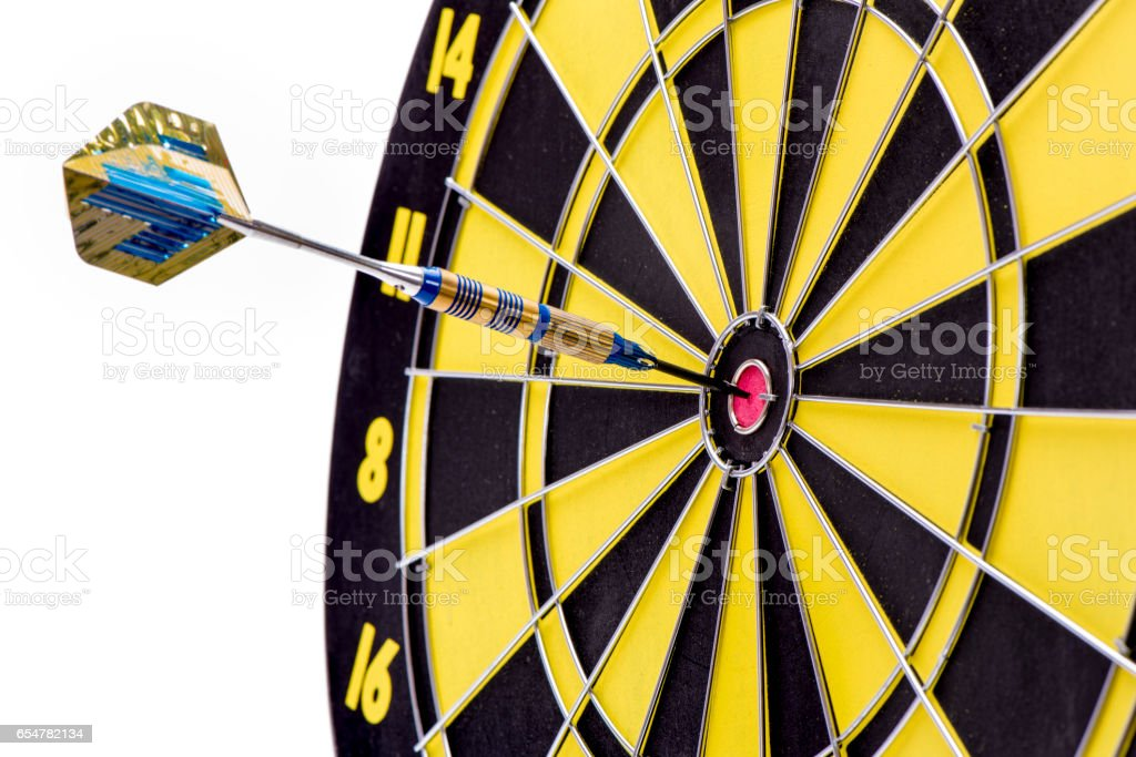 dart sport with arrow in target stock photo