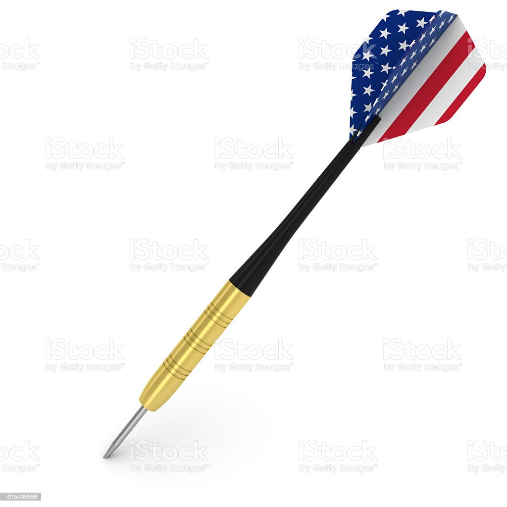 Dart with US Flag Flight Isolated on White 3D Illustration stock photo