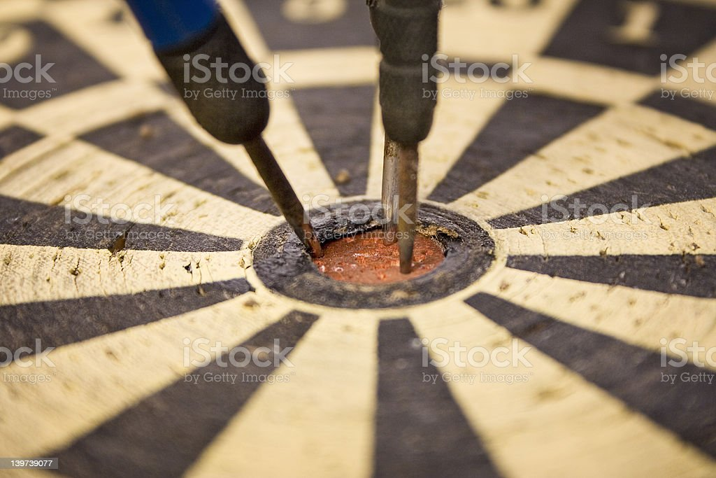 Dartboard – Close Up On Bulls Eye royalty-free stock photo