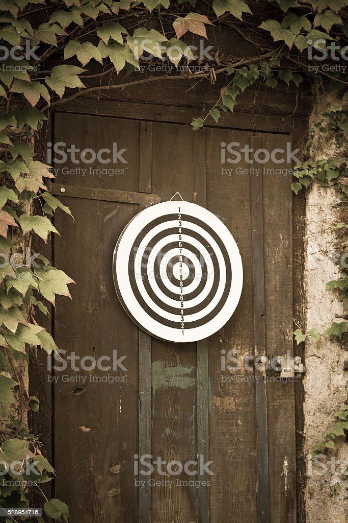 Dartboard on door stock photo