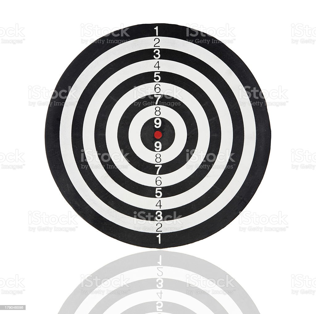 Dartboard with black and white circles royalty-free stock photo