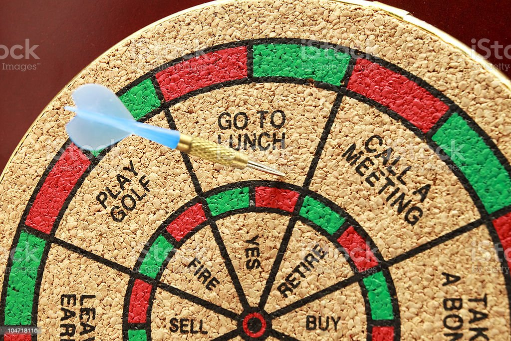 Dartboard With Lunch Decision royalty-free stock photo