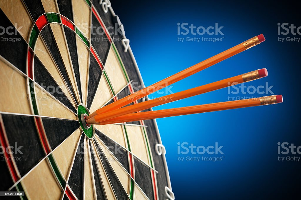 Dartboard With Pencils In The Center - Creativity Concept royalty-free stock photo