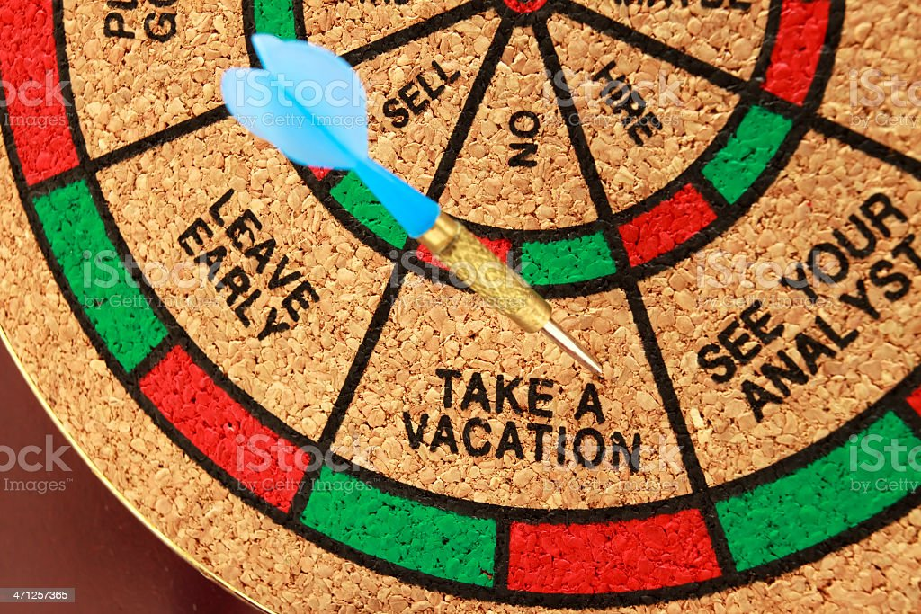 Dartboard With Vacation Decision royalty-free stock photo