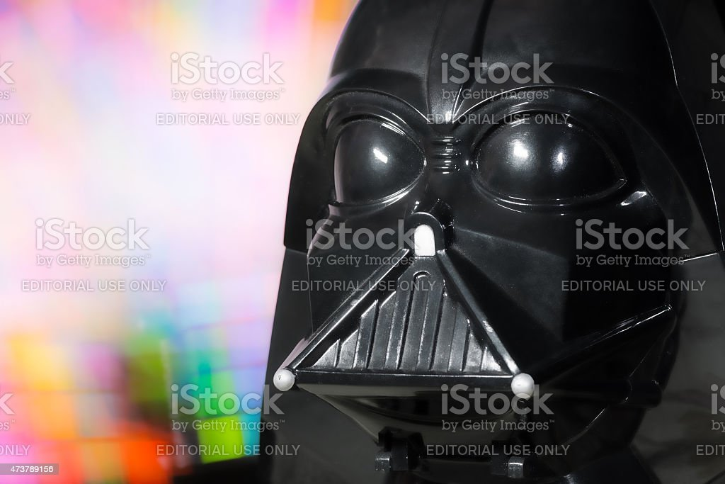 Darth Vader head portrait toy from Star Wars saga movie stock photo