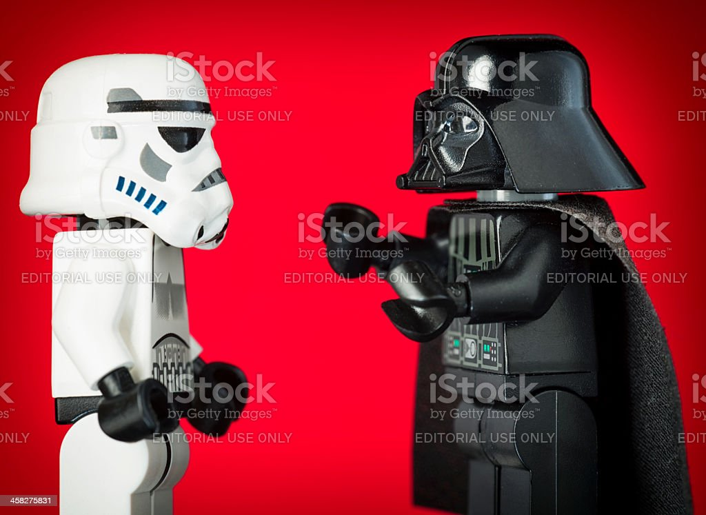 Darth Vader Lego Figurine Commanding a Stormtrooper stock photo