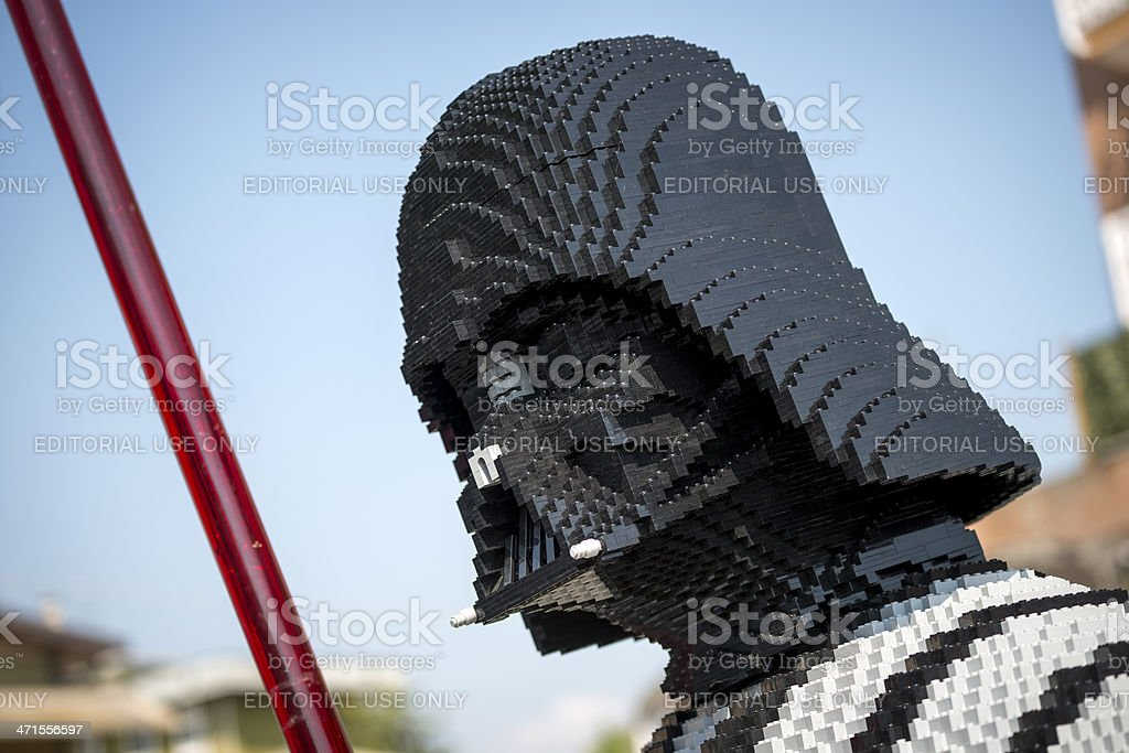 Darth Vader made of Lego bricks outside toy store stock photo