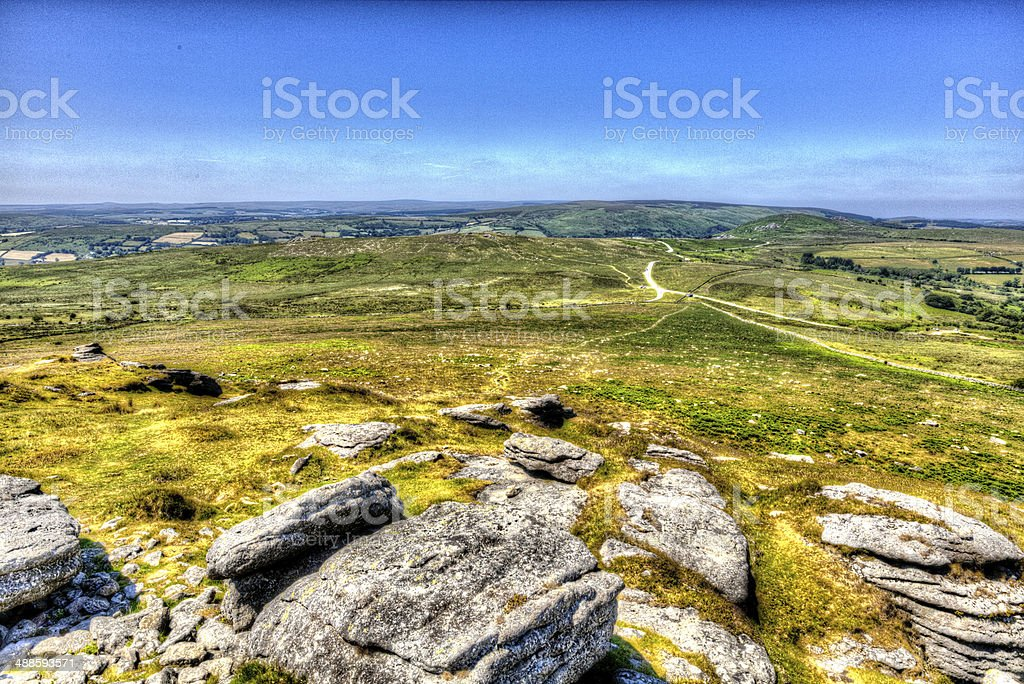Dartmoor Devon HDR view from Rippon Tor National Park stock photo